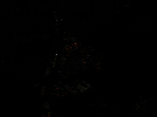 View out the window seat at night