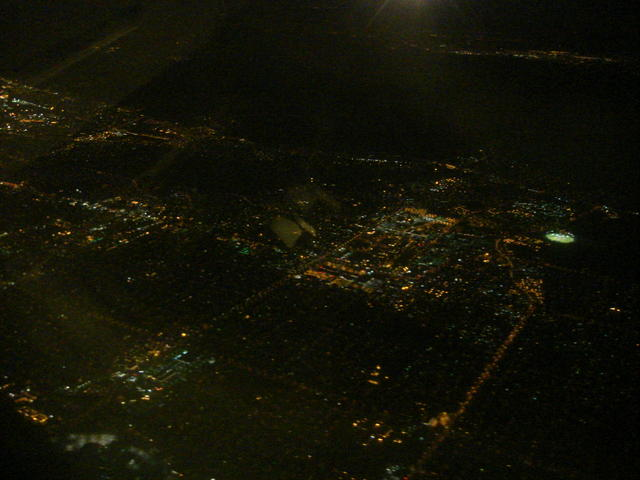 View out the window seat at night (a city?)