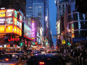 the bright lights of 42nd st. in twilight