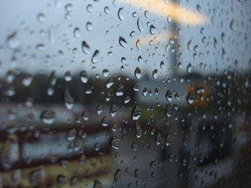 train window on the raindrops