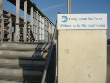Ronkonkoma station, the bus stop as well